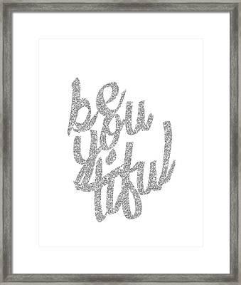 Silver 'beyoutiful' Typographic Poster Framed Print by Jaime Friedman
