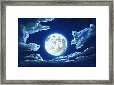 Silver Moon - Sky And Clouds Collection Framed Print by Anastasiya Malakhova