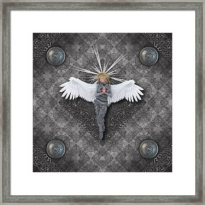 Silver Praying Angel Framed Print by Charm Angels
