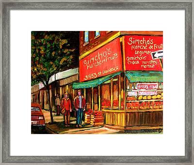 Simchas  Fruit Store Framed Print by Carole Spandau