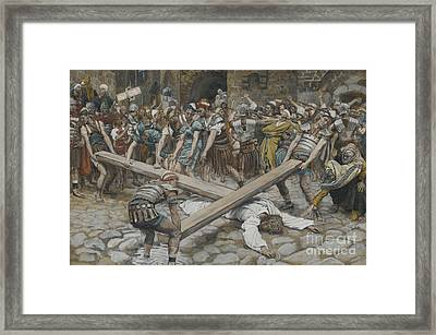 Simon The Cyrenian Compelled To Carry The Cross With Jesus Framed Print by Tissot