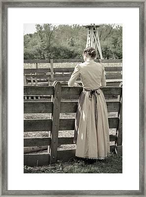 Simple Life Girl On Farm Framed Print by Julie Palencia