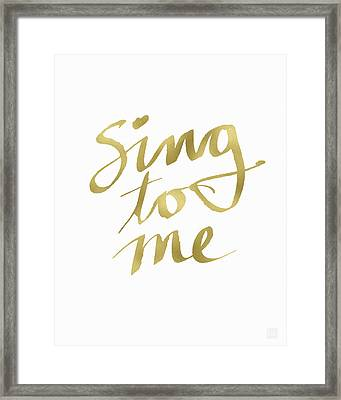 Sing To Me Gold- Art By Linda Woods Framed Print by Linda Woods