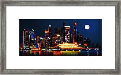 Singapore Aglow Framed Print by Thomas Kolendra