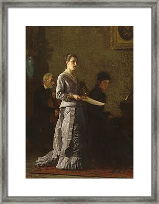 Singing A Pathetic Song Framed Print by Thomas Cowperthwait Eakins