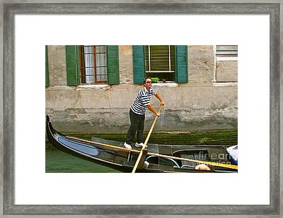 Singing Gondolier -venice Framed Print by Italian Art