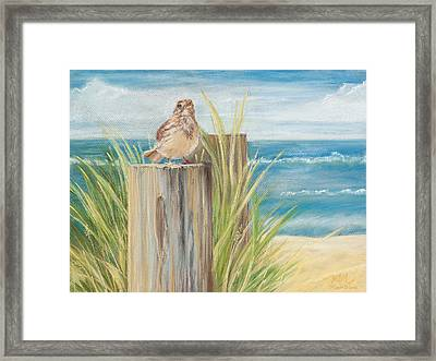 Singing Greeter At The Beach Framed Print by Michelle Wiarda