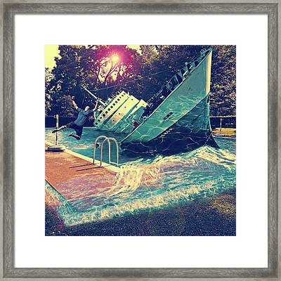 Digital Manipulation Framed Print featuring the digital art Sinking Into The Pool by Marian Voicu