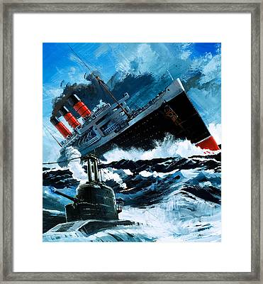 Sinking Of The Lusitania Framed Print by English School