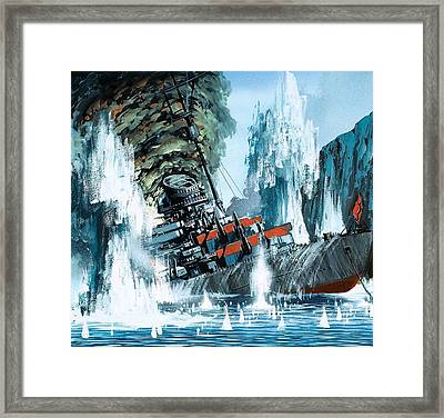 Sinking Of The Tirpitz Framed Print by Mike Tregenza