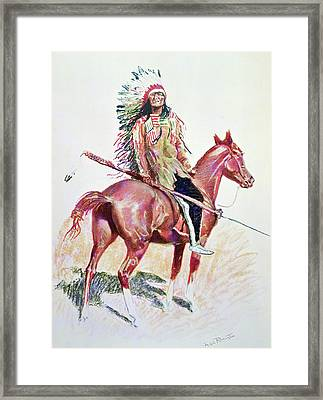 Sioux Chief Framed Print by Frederic Remington