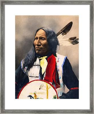 Sioux Chief Portrait Framed Print by Georgiana Romanovna