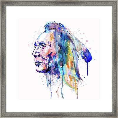 Sioux Warrior Watercolor Framed Print by Marian Voicu