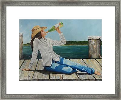 Sippin' On The Dock Of The Bay Framed Print by Patricia DeHart