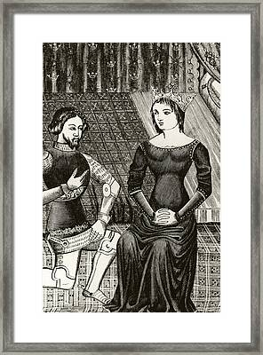 Sir Lancelot Kneels In Front Of Queen Framed Print by Vintage Design Pics
