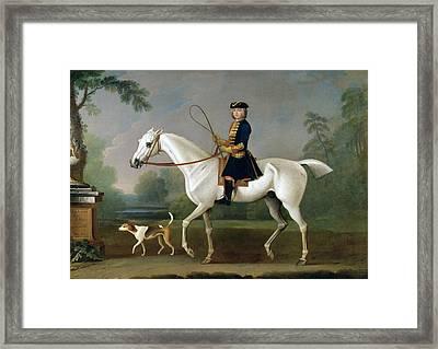 Sir Roger Burgoyne Riding 'badger' Framed Print by James Seymour
