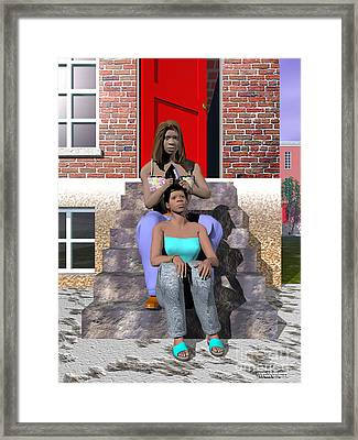 Sistahs Framed Print by Walter Oliver Neal