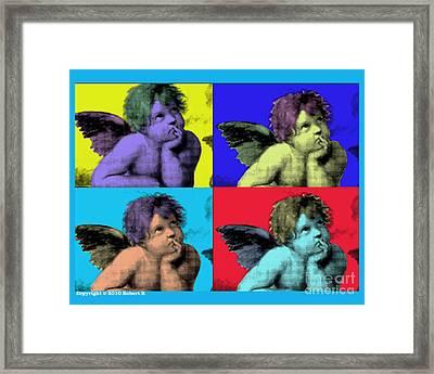 Sisteen Chapel Blue Cherub Angels After Michelangelo After Warhol Robert R Splashy Art Pop Art Print Framed Print by Robert R Splashy Art