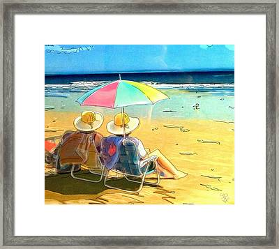 Sisters At The Beach Framed Print by Russell Reeves
