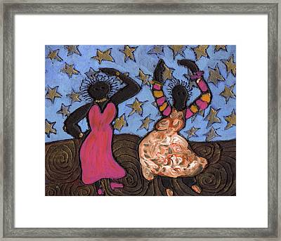 Sisters Sarah Sue And Sally Mae Swinging The Night Away Framed Print by Wayne Potrafka