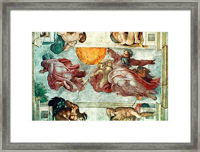Sistine Chapel Ceiling Creation Of The Sun And Moon Framed Print by Michelangelo