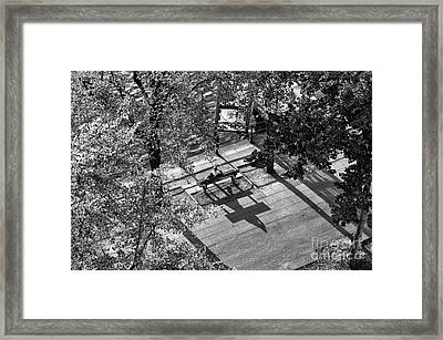 Sitting Alone In Hamburg Mono Framed Print by John Rizzuto