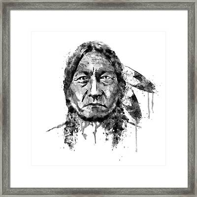 Sitting Bull Black And White Framed Print by Marian Voicu