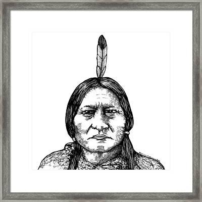 Sitting Bull Framed Print by Karl Addison