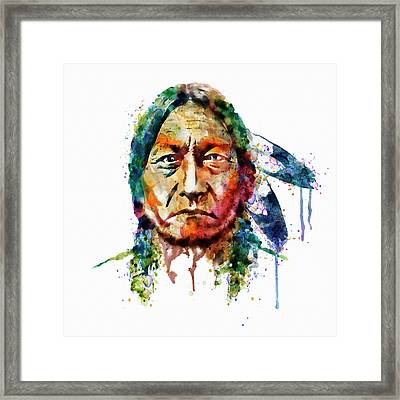 Sitting Bull Watercolor Painting Framed Print by Marian Voicu