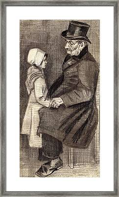 Sitting Man With Little Girl Framed Print by Vincent Van Gogh