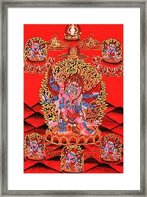 Six-armed Winged Mahakala In Yab Yum Framed Print by Lanjee Chee