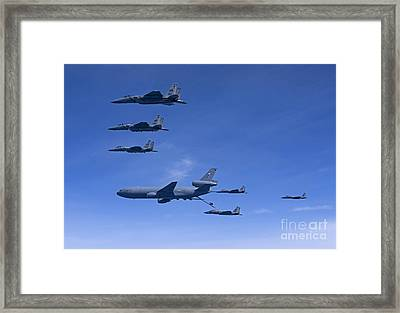 Six F-15 Eagles Refuel From A Kc-10 Framed Print by HIGH-G Productions