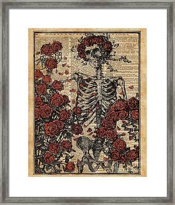 Skeleton Art, Skeleton With Roses Book Art,human Anatomy Framed Print by Jacob Kuch