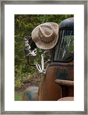 Skeleton Crew - Skeleton Driving A Vintage Truck Framed Print by Mitch Spence