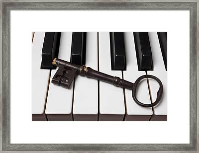 Skeleton Key On Piano Keys Framed Print by Garry Gay