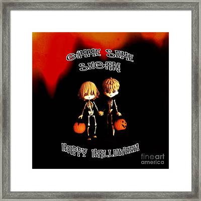 Skeleton Twinz Halloween Framed Print by Methune Hively
