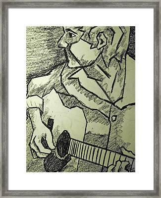 Sketch - Guitar Man Framed Print by Kamil Swiatek