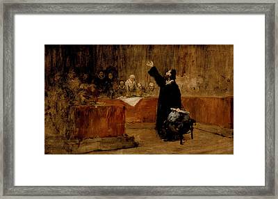 Sketch For Columbus Before The Council Of Salamanca Framed Print by William Merritt Chase