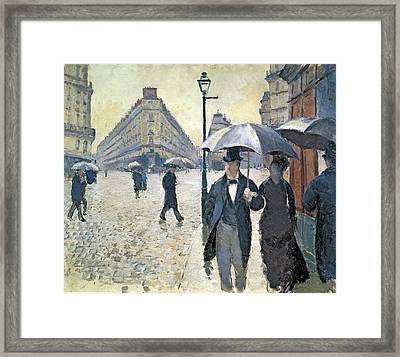 Sketch For Paris A Rainy Day Framed Print by Gustave Caillebotte