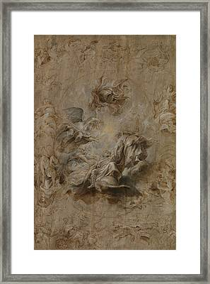 Sketch For The Banqueting House Ceiling Framed Print by Peter Paul Rubens