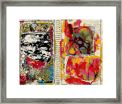 Sketchbook Page With Abstract Study And Mona Lisa Framed Print by F Burton