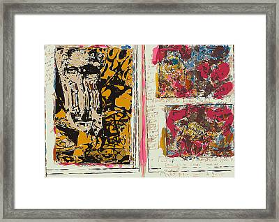 Sketchbook Page With Mona And Two Abstractions Framed Print by F Burton