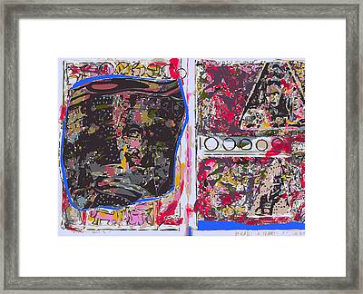 Sketchbook Page With Mona Lisa And Abstract Twos Framed Print by F Burton