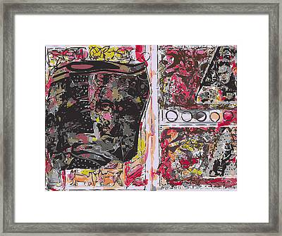 Sketchbook Page With Mona Lisa And Red Abstraction Framed Print by F Burton