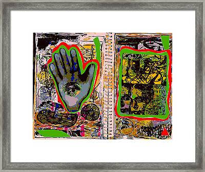 Sketchbook Pages With Eye In The Hand Framed Print by F Burton