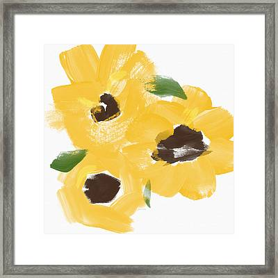 Sketchbook Sunflowers- Art By Linda Woods Framed Print by Linda Woods