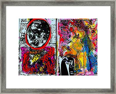 Sketchbook With Mona Lisa And Rabbits Framed Print by F Burton