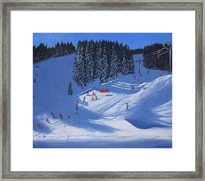 Ski School Morzine Framed Print by Andrew Macara