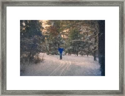 Skiing Borderland In Afternoon Light Framed Print by Bill McEntee