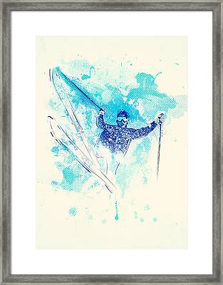 Skiing Down The Hill Framed Print by Bekare Creative
